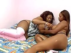Horny black lesbian spoiling new friend