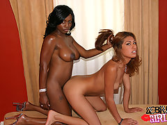 Saucy ebony dolls having fun in bed